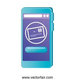 Isolated smartphone with credit card vector design