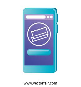 Isolated smartphone with credit card vector illustration