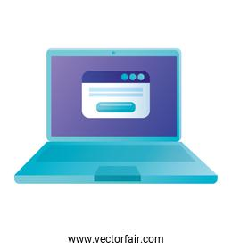 Isolated digital laptop with website vector design