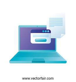 Isolated digital laptop with website and document vector design