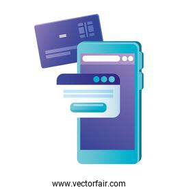 Isolated smartphone with credit card and website vector design