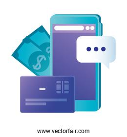 Isolated smartphone with credit card and bills vector design