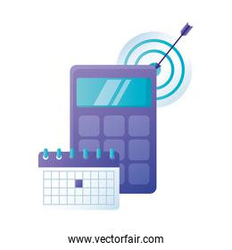 Isolated calculator target and calendar vector design