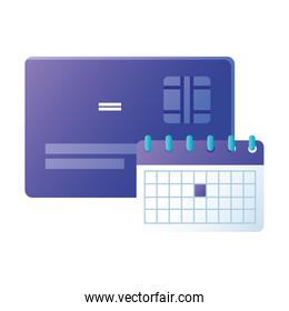 Isolated credit card and calendar vector design