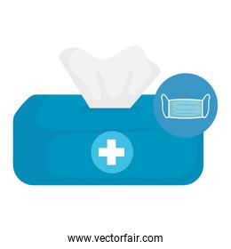 Isolated tissues box with mask vector design