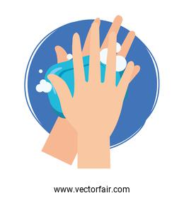 Isolated hands washing with soap bar vector design