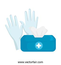 Isolated tissues box and gloves vector design