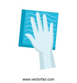 Isolated glove with rag vector design