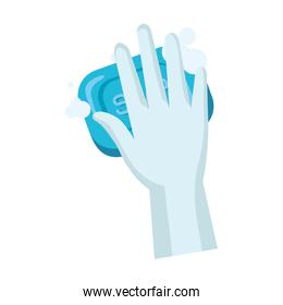 glove with soap bar vector design