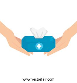 Hands with tissues box vector design