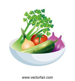 celery garlic onion cucumber and tomato vegetable vector design