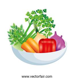 celery garlic carrot pepper and onion vegetable vector design