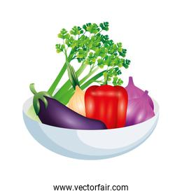 eggplant celery onion pepper and garlic vector design
