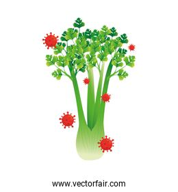 celery vegetable with covid 19 virus vector design
