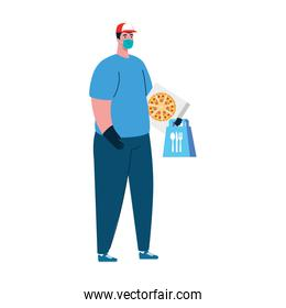 Delivery man with mask food bag and pizza box vector design
