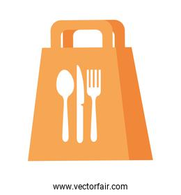 Delivery food bag with cutlery vector design