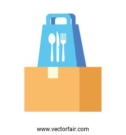 Delivery food bag with cutlery on box vector design