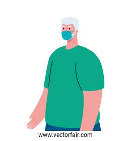 Old man avatar with medical mask vector design