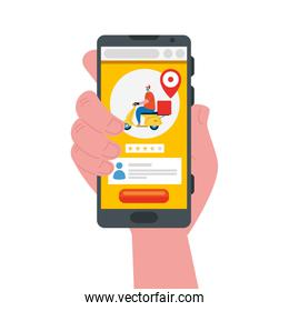 hand holding smartphone and man with mask motorcycle and box vector design