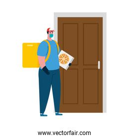Delivery man with mask and pizza box in front of door vector design