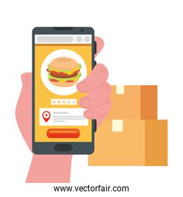 hand holding martphone with hamburger and boxes vector design