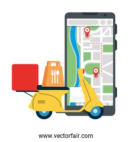 smartphone with gps marks motorcycle and food bag vector design
