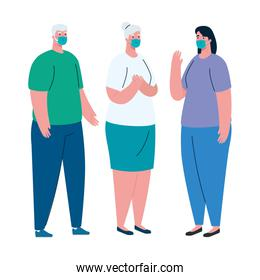 Old couple and woman avatar with medical mask vector design