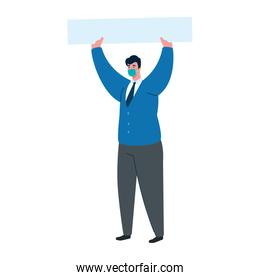 businessman with medical mask nectkie and banner vector design