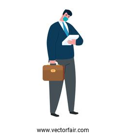 businessman with medical mask nectkie papers and suitcase vector design