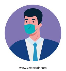 businessman with medical mask and nectkie vector design