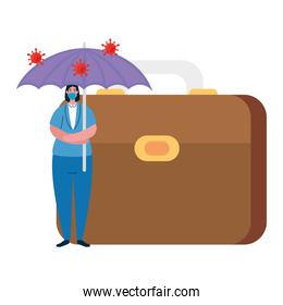 Woman with mask umbrella and suitcase of bankruptcy vector design
