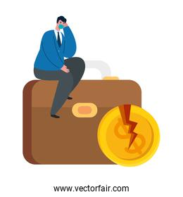 businessman with mask suitcase and broken coin of bankruptcy vector design