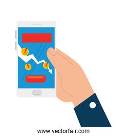 hand holding smartphone with broken coins of bankruptcy vector design