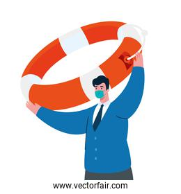businessman with mask and lifebuoy of bankruptcy vector design
