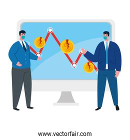 businessmen with masks and decrease arrow of bankruptcy vector design