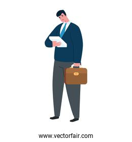 sad businessman avatar with papers and suitcase vector design