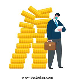 businessman with mask and coins of bankruptcy vector design