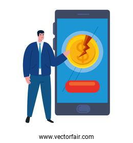businessman with mask, smartphone and broken coin of bankruptcy