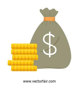 Isolated money bag and coins vector design
