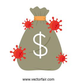 Money bag with covid 19 virus of bankruptcy vector design