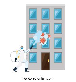 Man with protective suit spraying building with covid 19 virus vector design