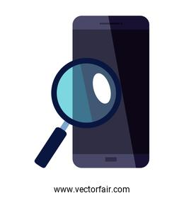 smartphone with lupe vector design