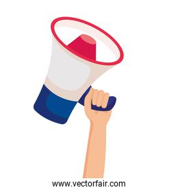 Isolated hand holding megaphone vector design