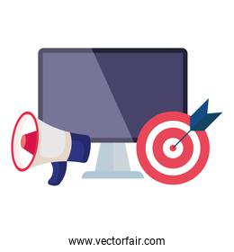 Isolated target computer and megaphone vector design