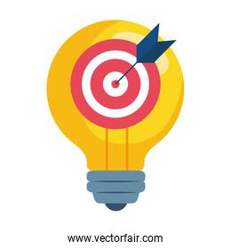 Isolated target on light bulb vector design