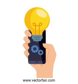 hand holding smartphone with light bulb and gears vector design