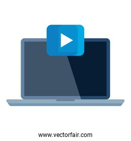 Isolated play button on laptop vector design