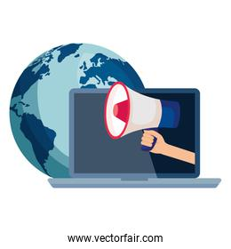 hand holding megaphone on laptop and world vector design