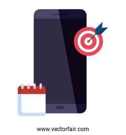 Isolated target smartphone and calendar vector design