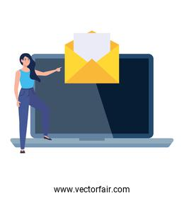 Envelope message on laptop and woman avatar vector design